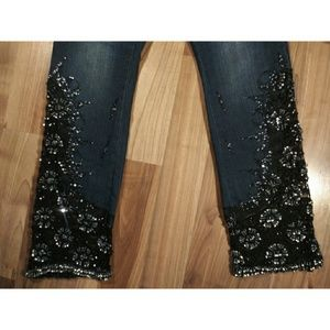Beaded lace cutout insert jeans sequined stretch